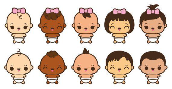 Kawaii clipart, kawaii baby clipart, cute baby clipart, baby girl.