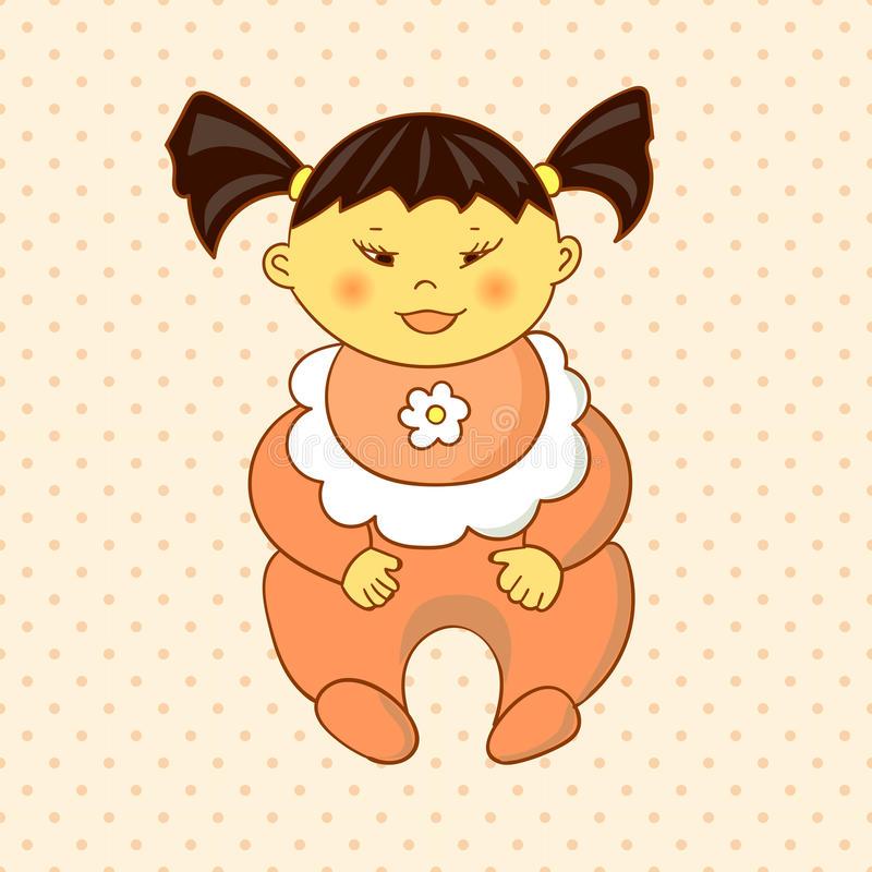 Asian Baby Girl Cartoon Child Stock Illustrations.