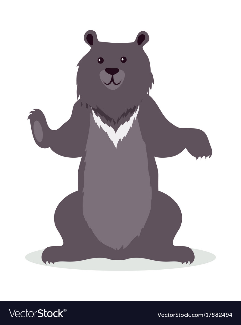 Asian black bear cartoon icon in flat design.