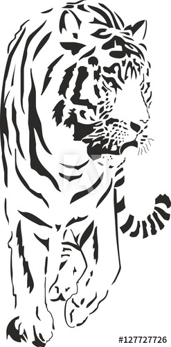 tiger black white clipart logo sketch wild indian asian.
