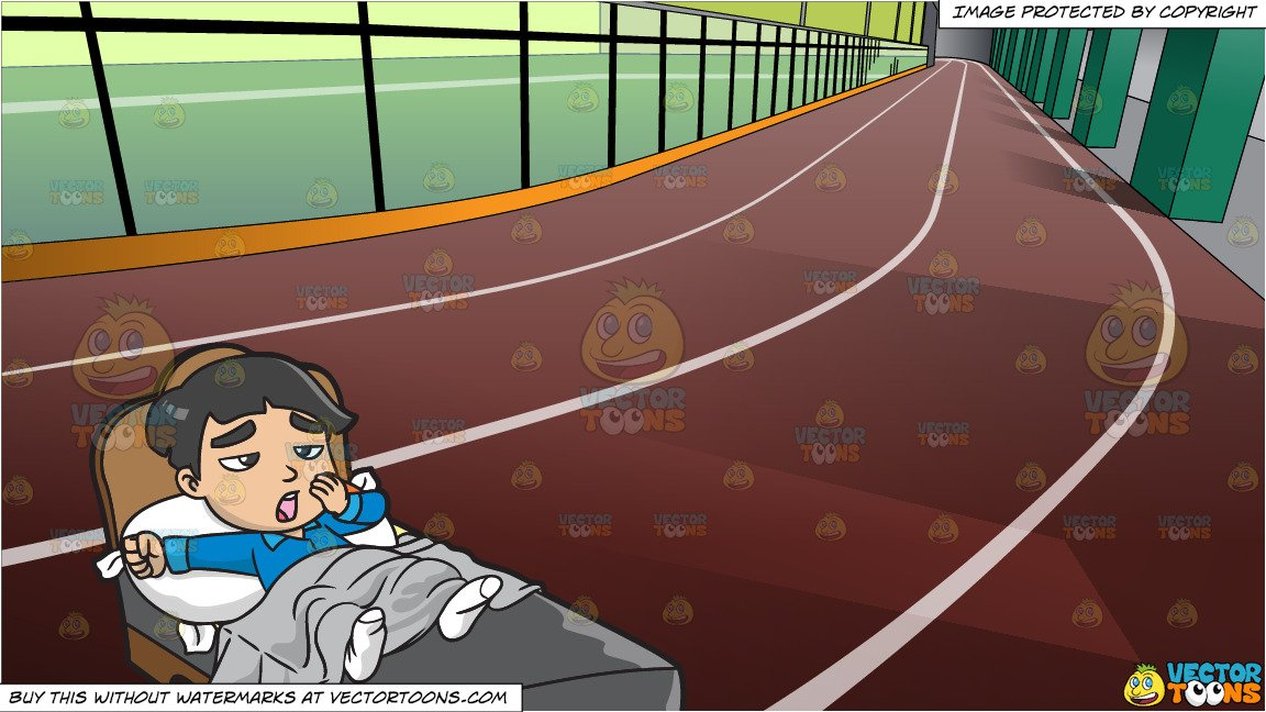 A Young Asian Boy Waking Up In The Morning and Indoor Running Track  Background.