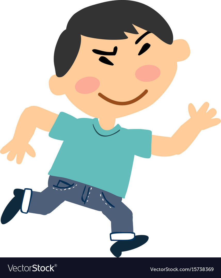 Cartoon character asian boy running.