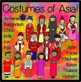 Asian costumes Clip Art.