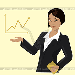 Asian business woman pointing to business trends.