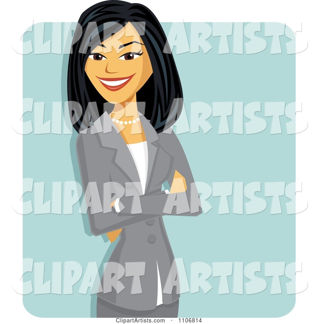 Happy Professional Asian Business Woman With Folded Arms.