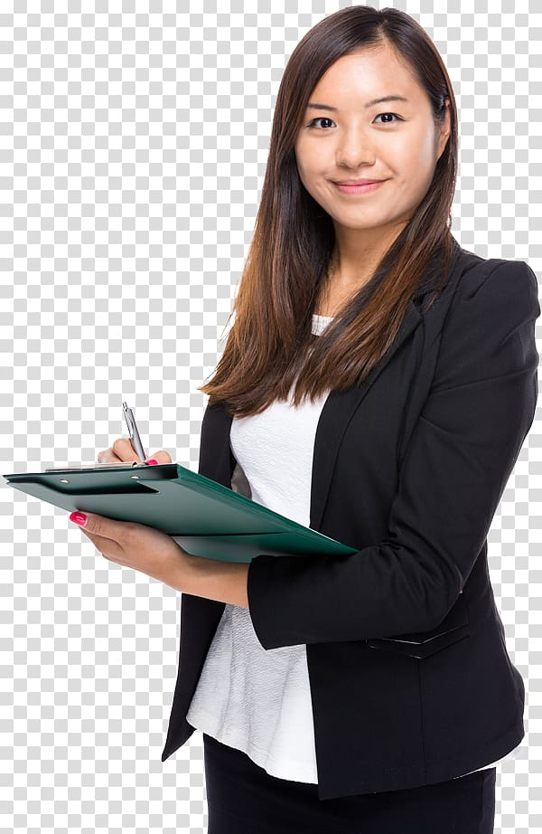 Woman holding paper board, Small business Management Company.