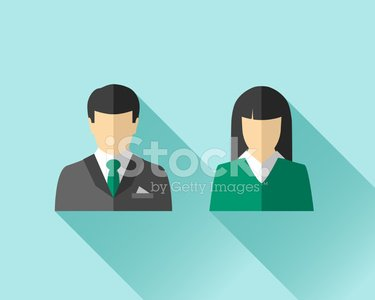 Asian businessman and businesswoman Clipart Image.