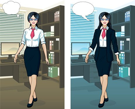 Asian Businesswoman in office interior Clipart Image.