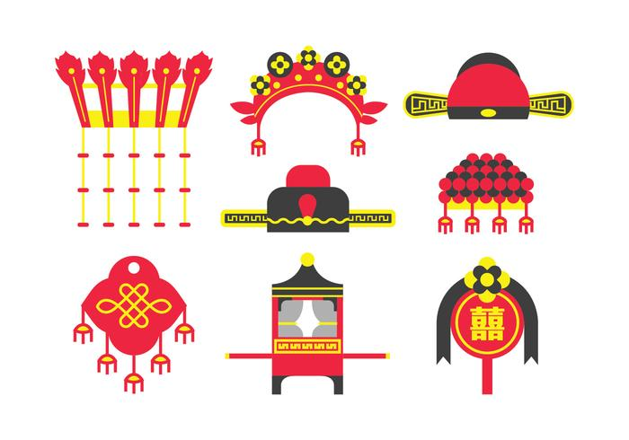 Traditional Chinese Wedding Element Vectors.