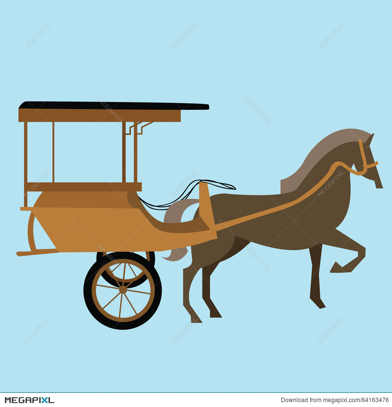 Horse Carriage Cart Asia Vector Delman Old Traditional.