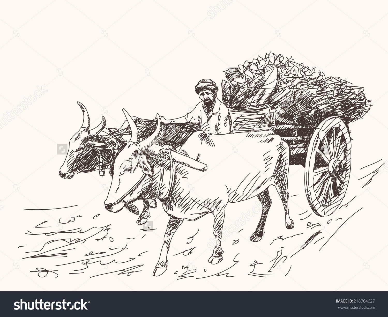 Asian Farmer Riding On Ox Cart Stock Vector 218764627.