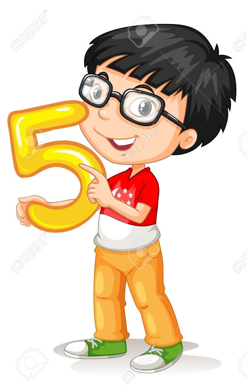 Asian Boy Holding Number Five Illustration Royalty Free Cliparts.