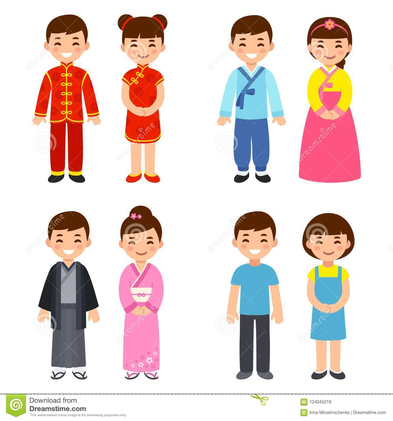 Traditional Costumes Of Asian Countries Stock Vector.