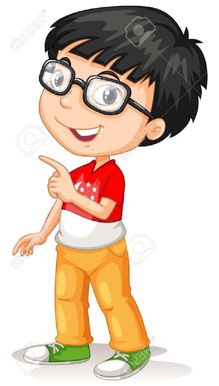 Asian boy wearing glasses illustration.