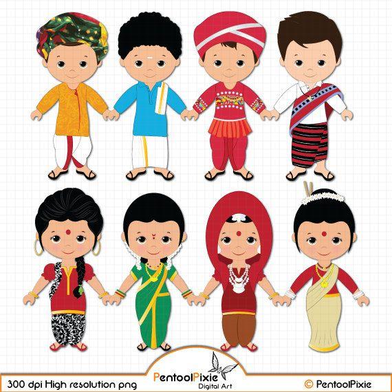 Children of India clipart, Children, Unity clipart, Ethnic Kids.