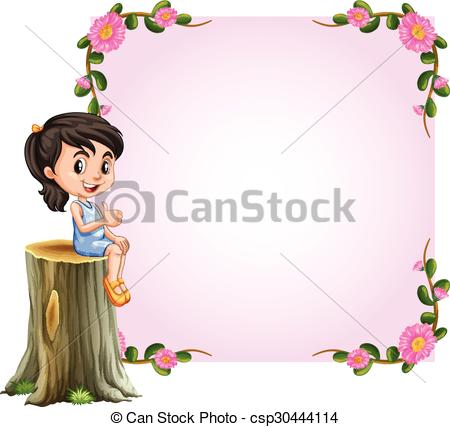 Asian girl and pink border with flowers design.