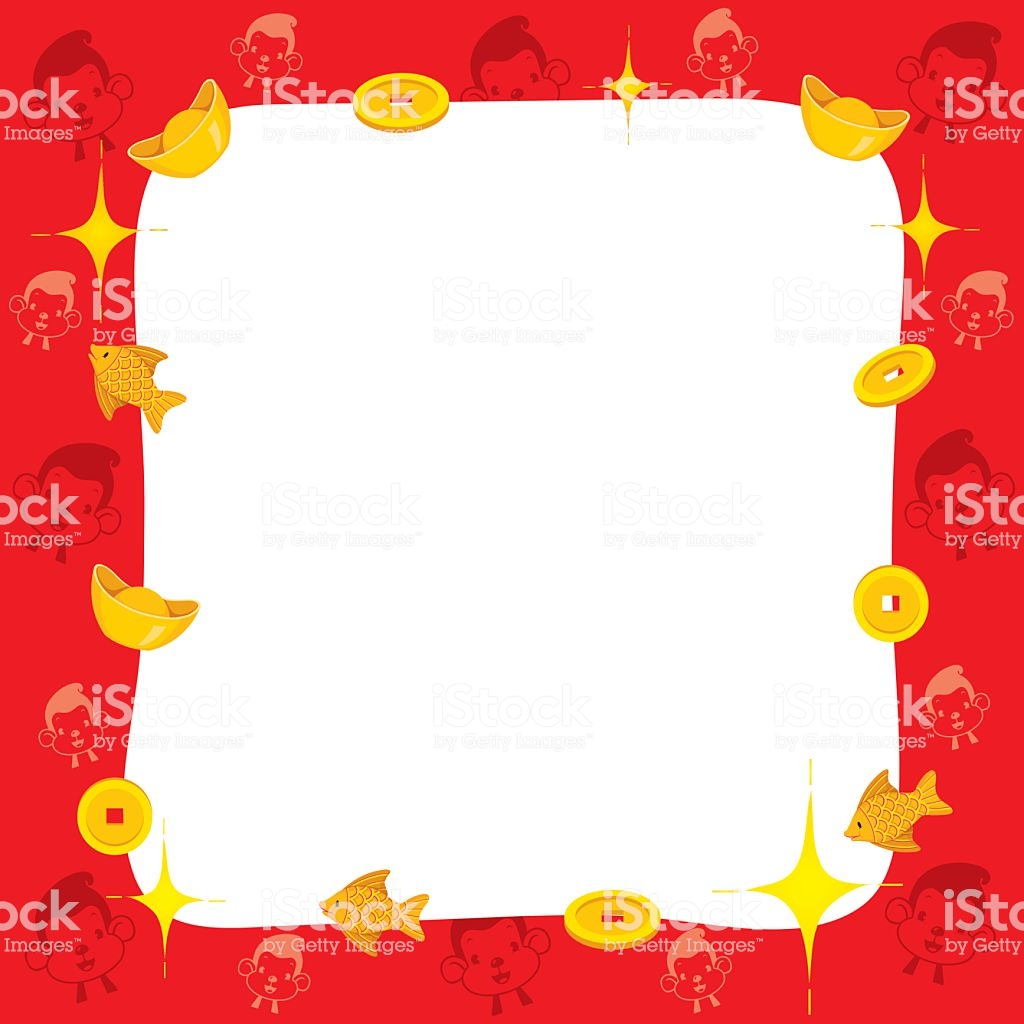 Monkey With Chinese New Year Border Stock Illustration.
