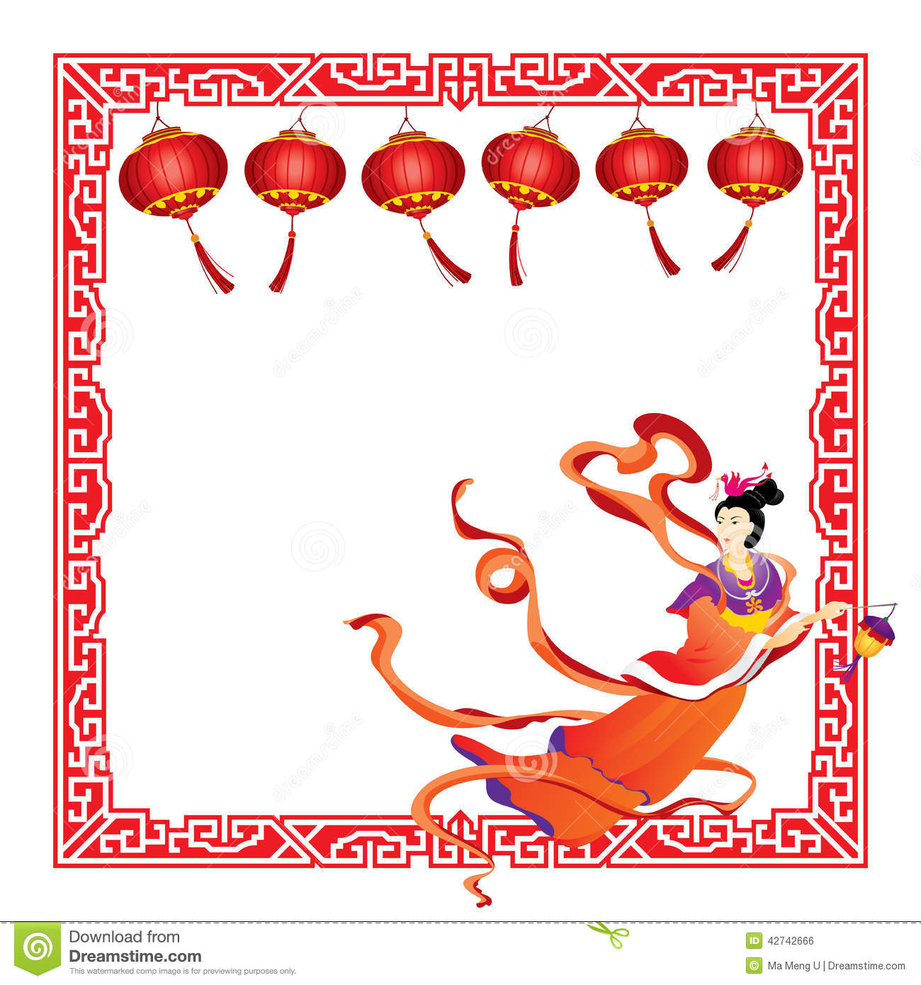 Chinese Fairy Flying With Red Lantern Border Stock Vector.