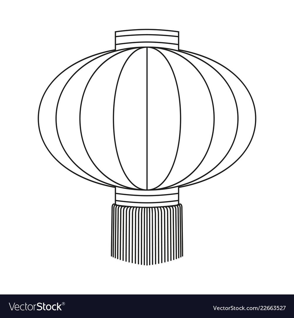 Line art black and white chinese paper lantern.