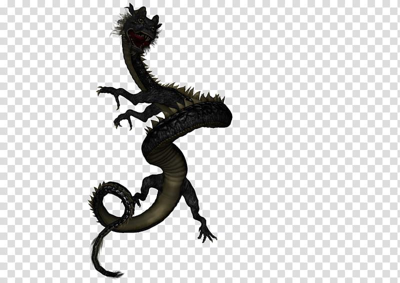 Asian Dragon , black dragon illustration transparent.