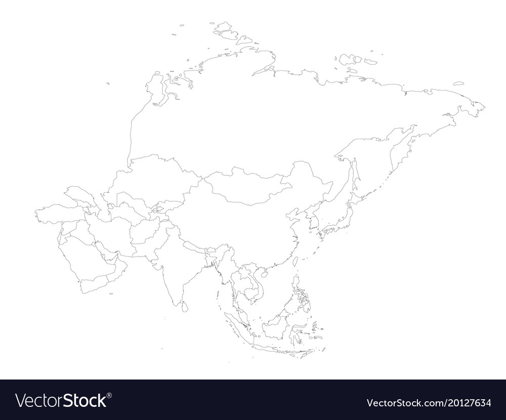 asia continent map outline.