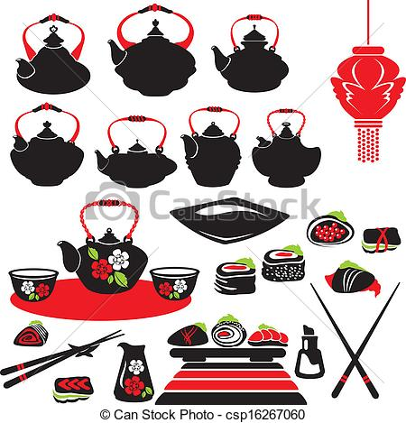 Clip Art Vector of Set of asian food icons.
