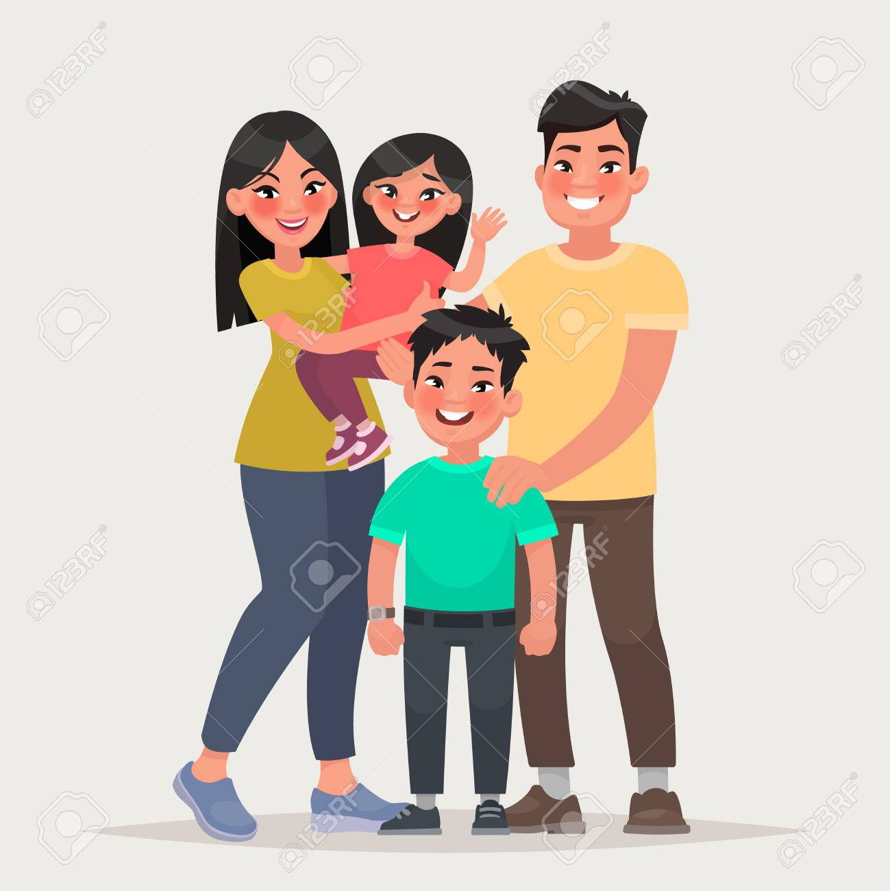 Asian happy family. Dad, mom, daughter and son together. Vector...