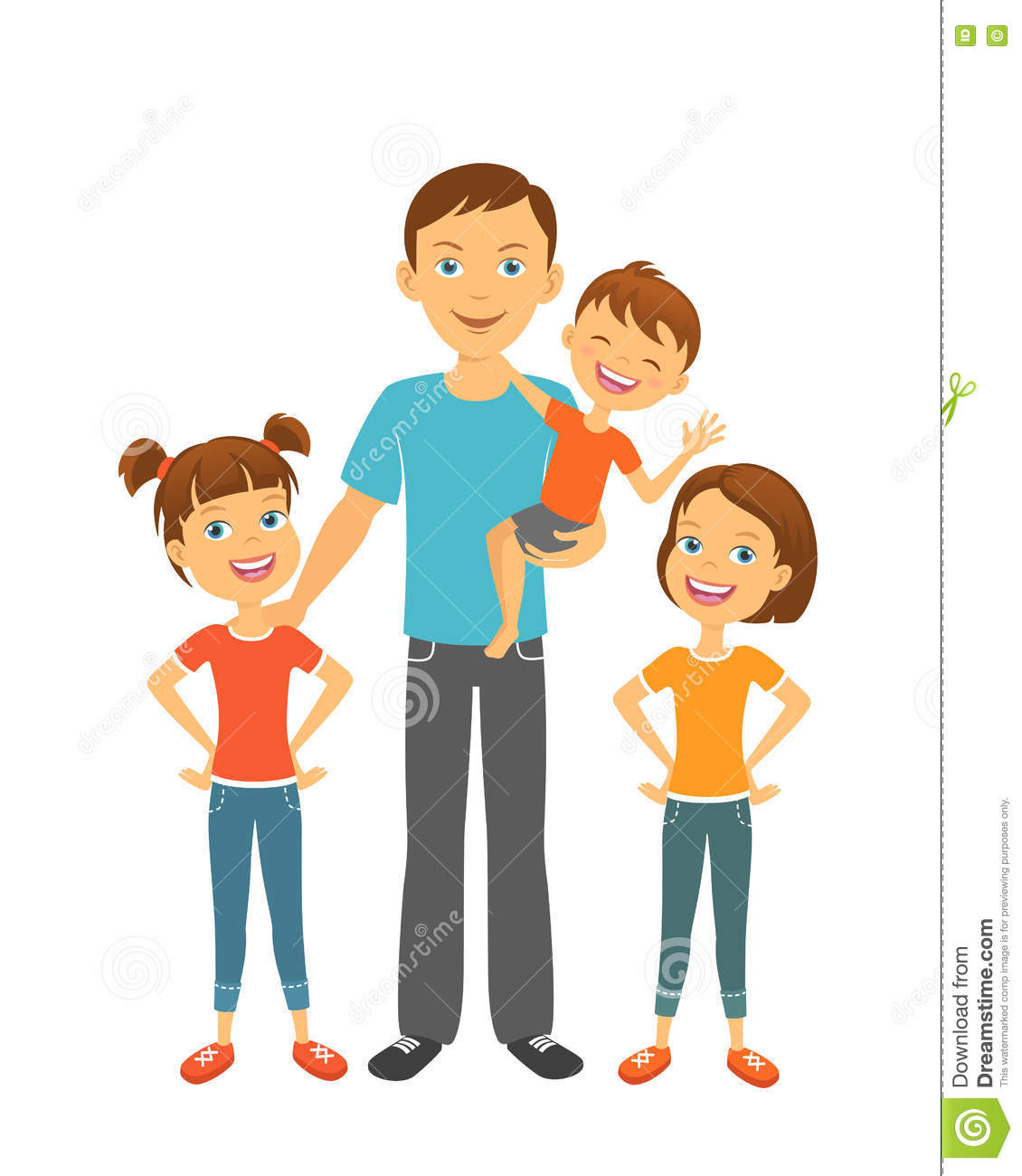 Father With Kids Clipart.