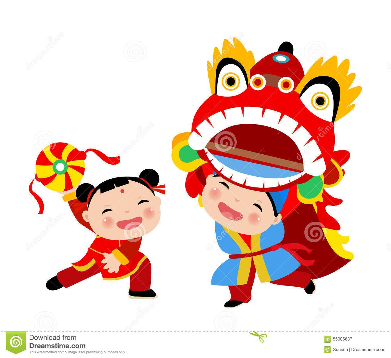 Happy Chinese New Year/Lion Dance Royalty Free Stock.