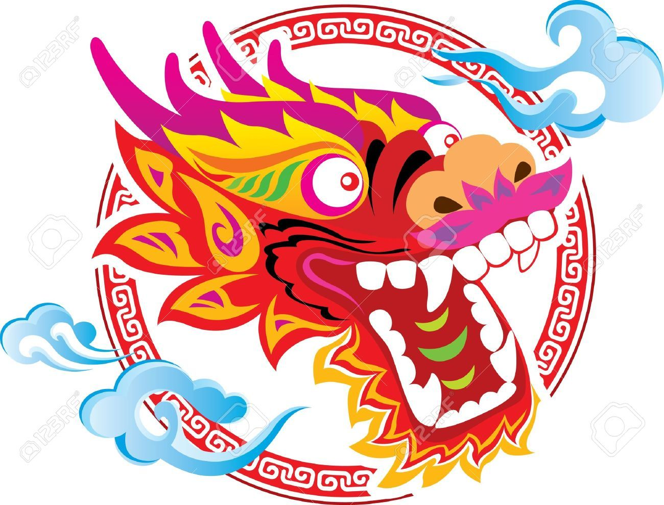 Oriental dragon clipart.