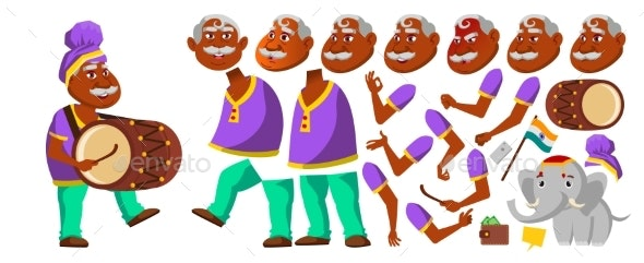 Indian Old Man Vector. Hindu. Asian. Senior Person.