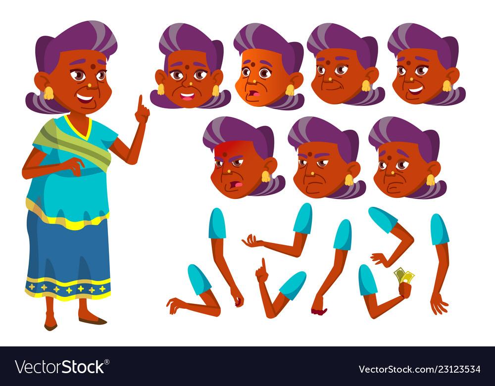 Indian old woman hindu asian senior.
