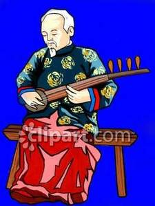 Elderly Asian Man Playing a Shamisen.