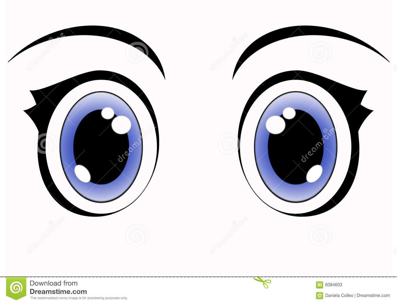 Blue anime eyes stock illustration. Illustration of clipart.