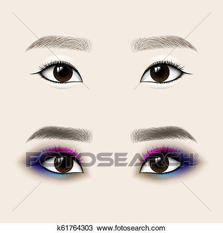 Beautiful Asian Woman Eyes and Brows. Before and after make.