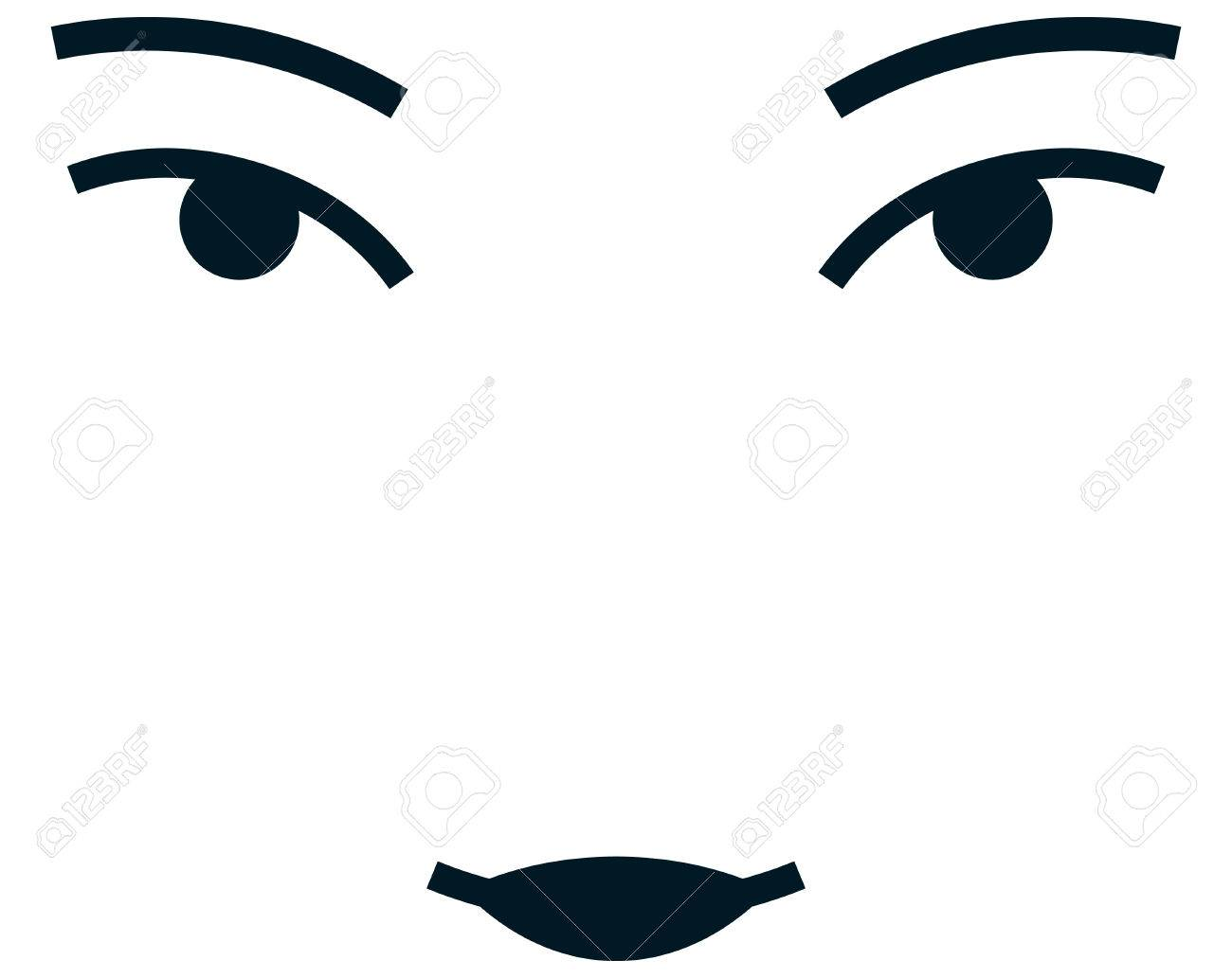 Asian girl woman female face vector illustration isolated.