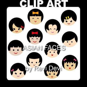 Asian Faces Clip art 07006 (teacher resource).