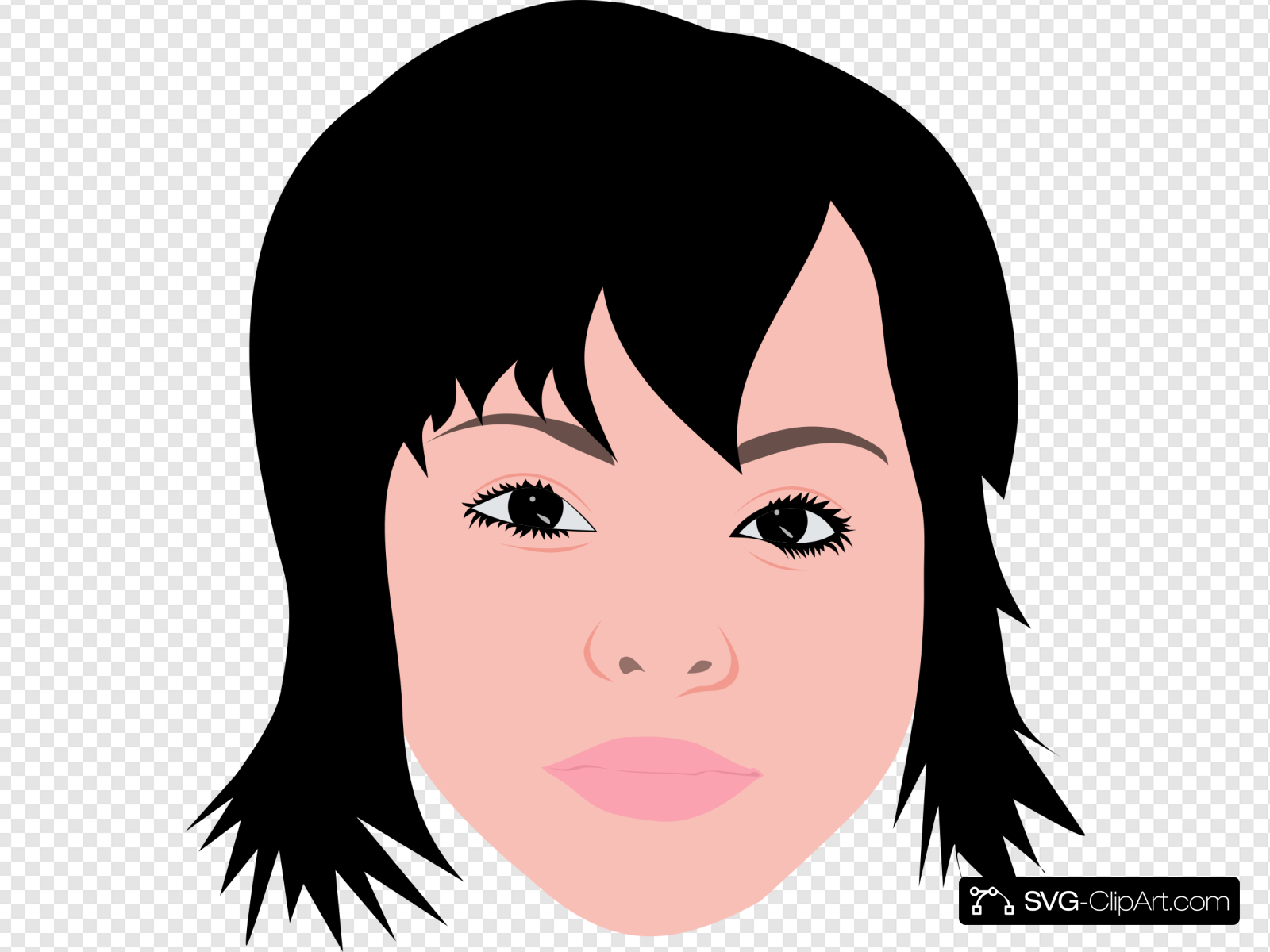 Asian Girl With Short Hair Clip art, Icon and SVG.