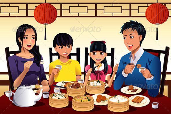 Chinese Family Eating Dim Sum  adult, asian, cartoon.