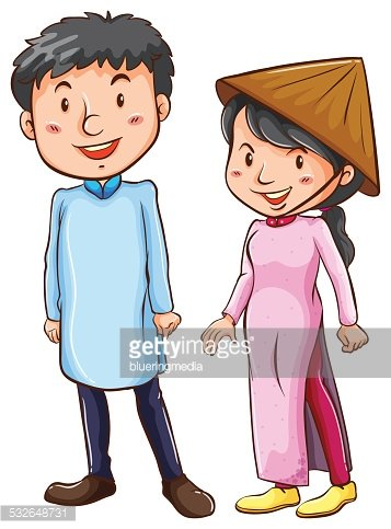 People wearing the Asian costume Clipart Image.