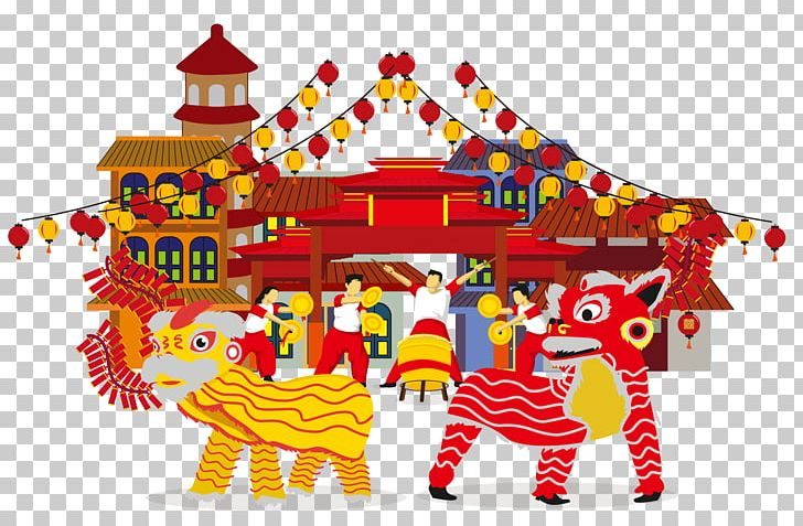 Lion Dance Lantern Festival Chinese New Year Cartoon PNG.