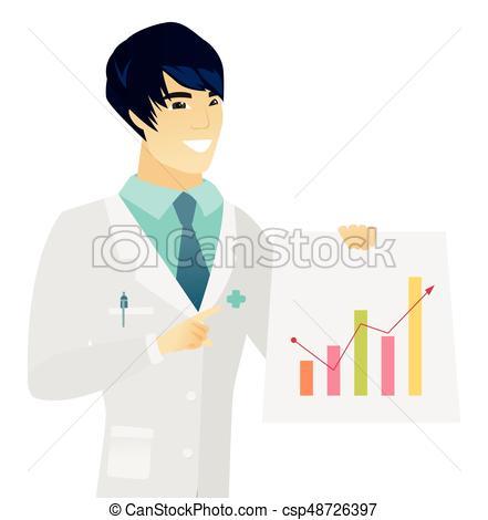 Young asian doctor showing financial chart..