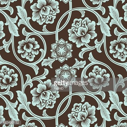Asian ornamental colored antique floral pattern. Clipart.