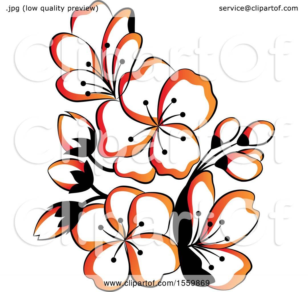 Clipart of Beautiful Asian Styled Flowers.