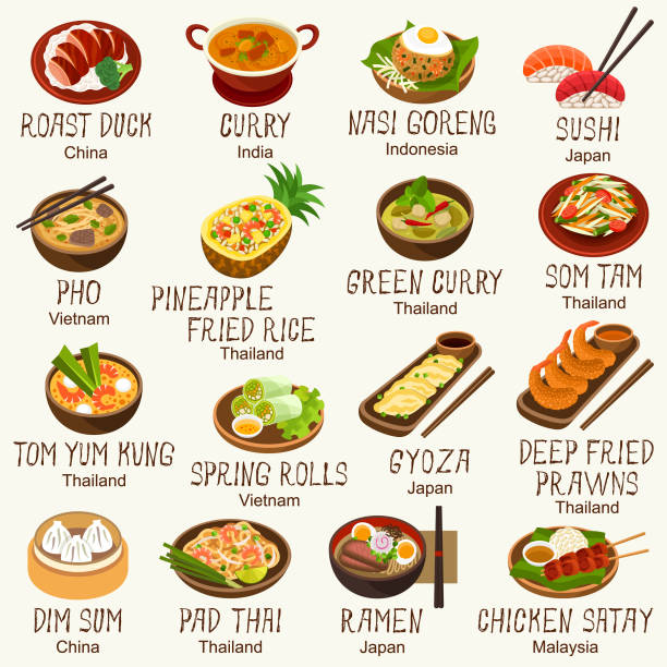 Best Asian Food Illustrations, Royalty.