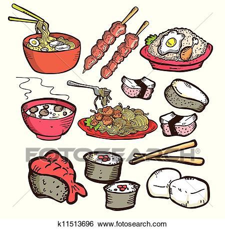 Set of asian food doodle Clip Art.