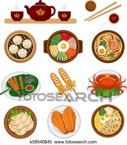 Set of asian food. Chinese and Korean cuisine. Clipart.