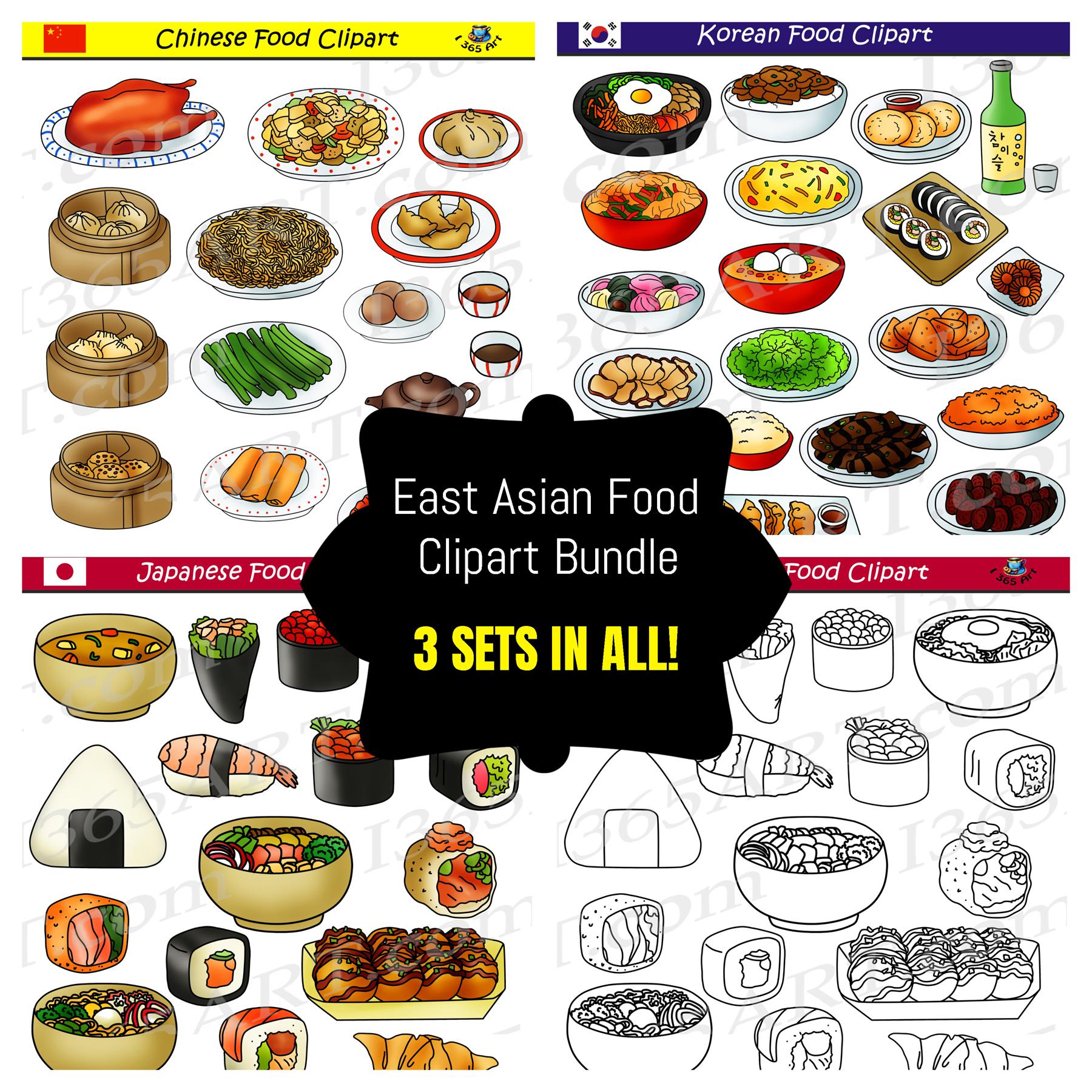 East Asian Food Clipart Bundle.
