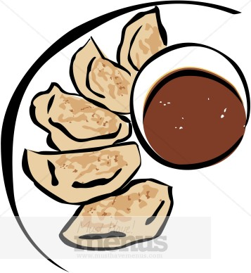 Pot Stickers Clipart.