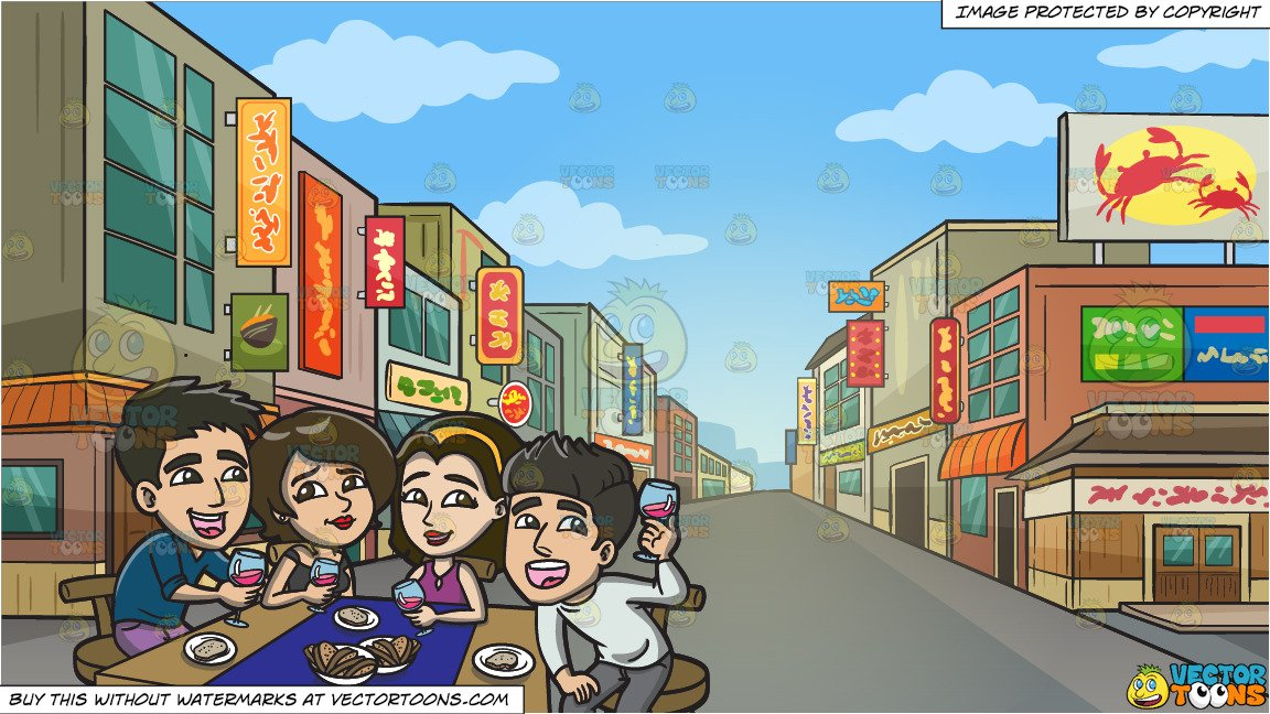 A Happy Group Of Friends Enjoying Some Wine And Bread and Downtown Street  In An Asian Neighborhood Background.